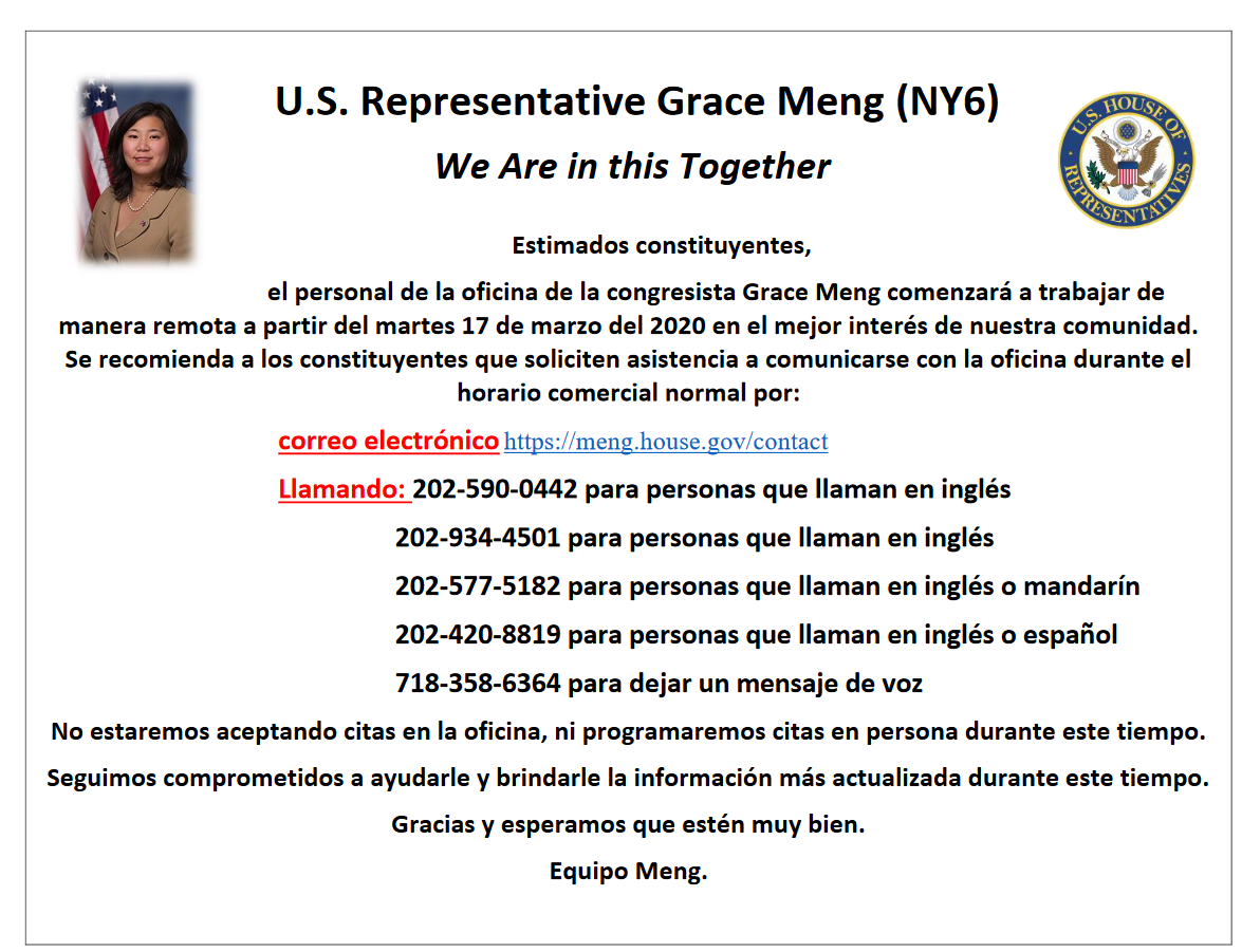 Contact Congresswoman Meng's Office - Spanish Version